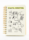 Notebook on desk with icon relate with Digital Marketing, Busine Royalty Free Stock Image