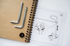 Notebook and details of lamp. Notebook, drawing and details lamp royalty free stock photography