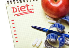 Notebook with diet plan Stock Photo