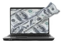Notebook with dollar background Stock Photos