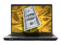 Notebook with dollars Stock Images