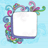 Notebook Doodle 3D Square Frame. Hand-drawn Retro Groovy Rainbow Notebook Doodles 3D Square Frame Border with Swirls. Vector Illustration Design Elements Lined Royalty Free Stock Photos