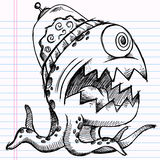 Notebook Doodle Sketch Alien Monster Royalty Free Stock Photography