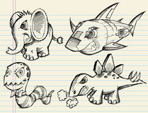 Notebook Doodle Sketch Vector Animal Set Stock Images