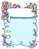 Notebook doodle Speech Bubble Frame. Hand-drawn Retro Groovy Rainbow Notebook Doodles 3D Speech Bubble Cloud Frame Border with Swirls and Stars. Vector Stock Photography