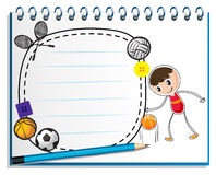 A notebook with a drawing of a boy with the different sports acc. Illustration of a notebook with a drawing of a boy with the different sports accessories on a Stock Images