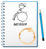 A notebook with a drawing of a boy doing aerobics Stock Photography