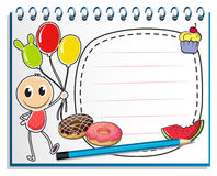 A notebook with a drawing of a boy holding balloons Stock Images