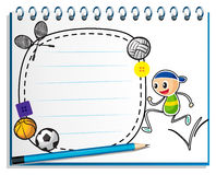A notebook with a drawing of a boy jumping near an empty space. Illustration of a notebook with a drawing of a boy jumping near an empty space on a white Stock Images