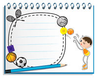 A notebook with a drawing of a boy playing basketball Royalty Free Stock Photo