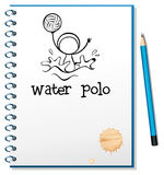 A notebook with a drawing of a boy playing water polo Stock Image
