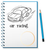 A notebook with a drawing of a car racing. Illustration of a notebook with a drawing of a car racing on a white background royalty free illustration