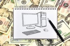 Notebook with drawing computer stock photography