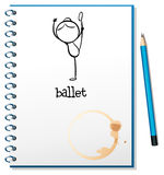 A notebook with a drawing of a girl dancing ballet Royalty Free Stock Images