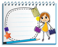 A notebook with a drawing of a girl holding bags Stock Photos