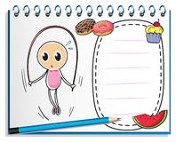 A notebook with a drawing of a girl playing with the jumping rop Royalty Free Stock Images