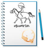 A notebook with a drawing of a girl riding a horse. Illustration of a notebook with a drawing of a girl riding a horse on a white background Stock Image