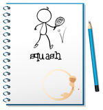 A notebook with a drawing of a person playing table tennis Stock Photo