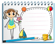 A notebook with a drawing of a young girl holding a flower Stock Images