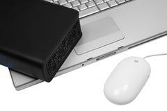 Notebook and an external hard drive Stock Photography