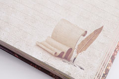 Notebook. With feather print on the page Stock Photography