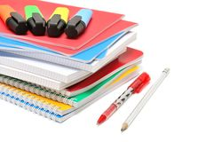 Notebook and felt-tip pen. Isolated on a white background stock images