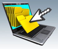 Notebook Files (Pointer). Several files coming from inside of the screen. Concept of business organization Stock Images