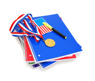 Notebook and flag with medal Stock Photography