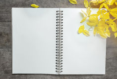 Notebook and flower on wooden Royalty Free Stock Photo