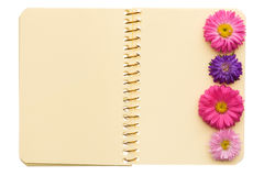 Notebook with flowers Stock Photography