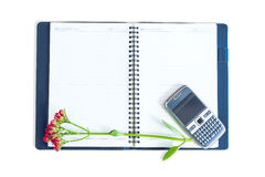 Notebook with flowers on a mobile phone Stock Images