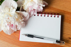 Notebook with flowers Stock Photo