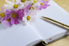 Notebook with flowers. Notebook of the romantic girl, for a writing of poetry and wishes. The designer can bring the text on pages Royalty Free Stock Photos