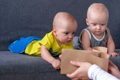 Notebook in the foreground. In the background are twins, a boy and a girl of 7 months. Maternity. Notebook in the foreground. In the background are twins, a boy stock image