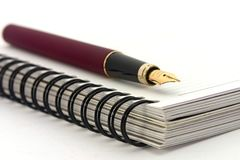 Notebook and fountain pen Stock Photography