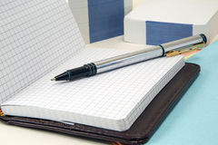 Notebook and fountain pen. Notebook, paper for notes and fountain pen. still life. office suite. stationery Royalty Free Stock Photography