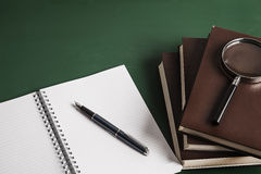 Notebook, fountain pen and school books Stock Photo