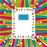 Notebook frame of colorful pencils royalty free illustration