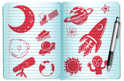 Notebook full with science symbols Royalty Free Stock Images