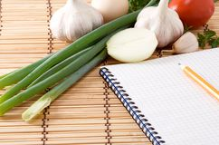 Notebook, garlic, tomato and onion on straw Stock Photography