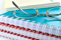Notebook with glasses Royalty Free Stock Photo