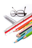 Notebook glasses and pen on white Stock Photos