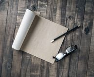 Notebook, glasses, pencil Stock Photography