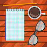 Notebook, glasses, pencil and cup of coffee. Top view. Illustration of a notebook, glasses, pencil and cup of coffee on wood background Royalty Free Stock Photography