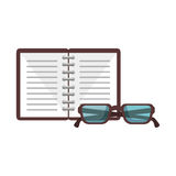 Notebook and glasses school supply icon Royalty Free Stock Photo