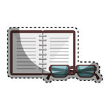 Notebook and glasses school supply icon Royalty Free Stock Image