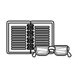 Notebook and glasses school supply icon Stock Images