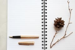 notebook, gold pen and dry branch on the desk, decorated table royalty free stock photo