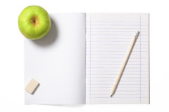 Notebook and Green Apple with Clipping Path Stock Images