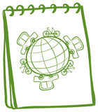 A notebook with a green doodle design Royalty Free Stock Images